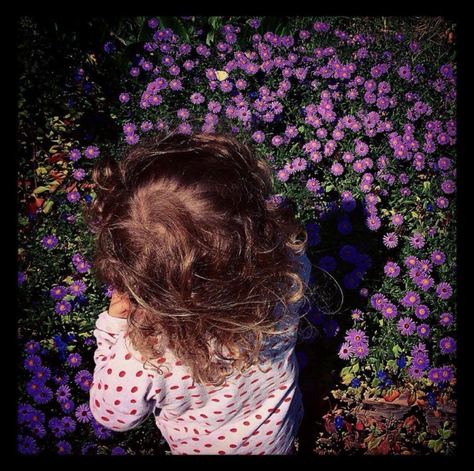 I bambini raccolgono fiori